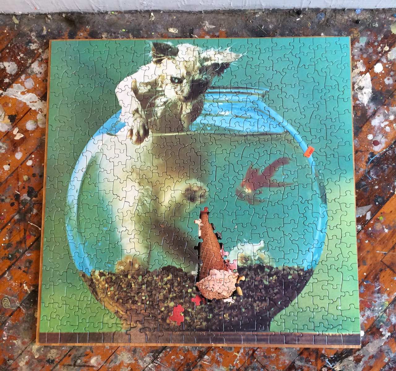 A jigsaw puzzle in Rachel Schmidhofer's studio combining pieces from two unrelated puzzles