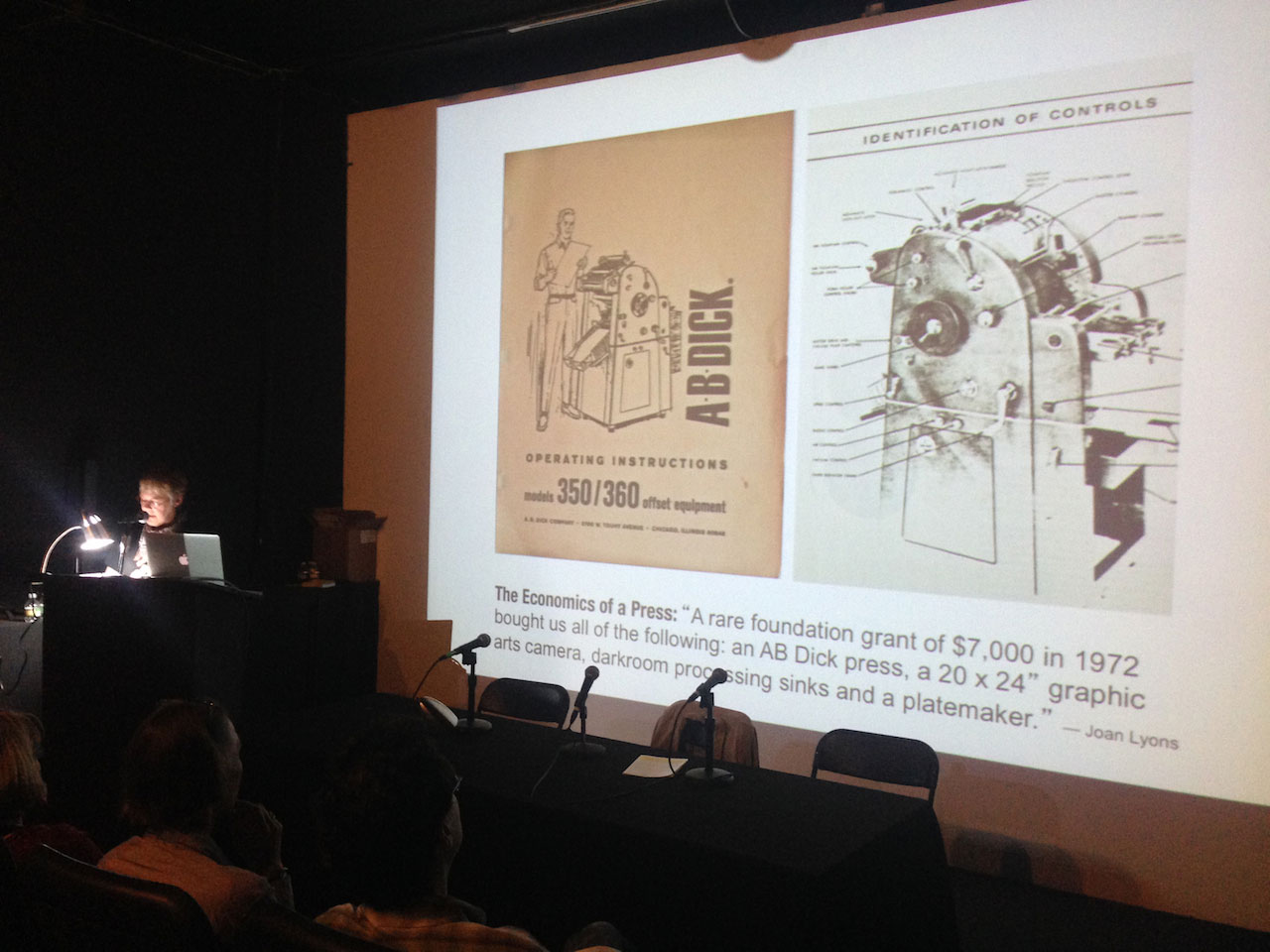 """""""Furthering the Critical Dialogue"""" panel: Cynthia Marsh discusses printing technique and the onset of offset."""