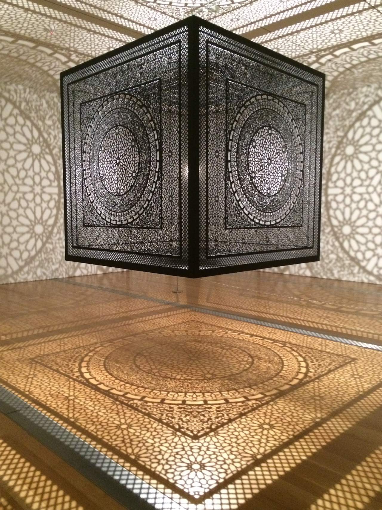 """Anila Quayyum Agha's """"Intersections"""" at the Grand Rapids Art Museum (all photos by Hrag Vartanian for Hyperallergic)"""