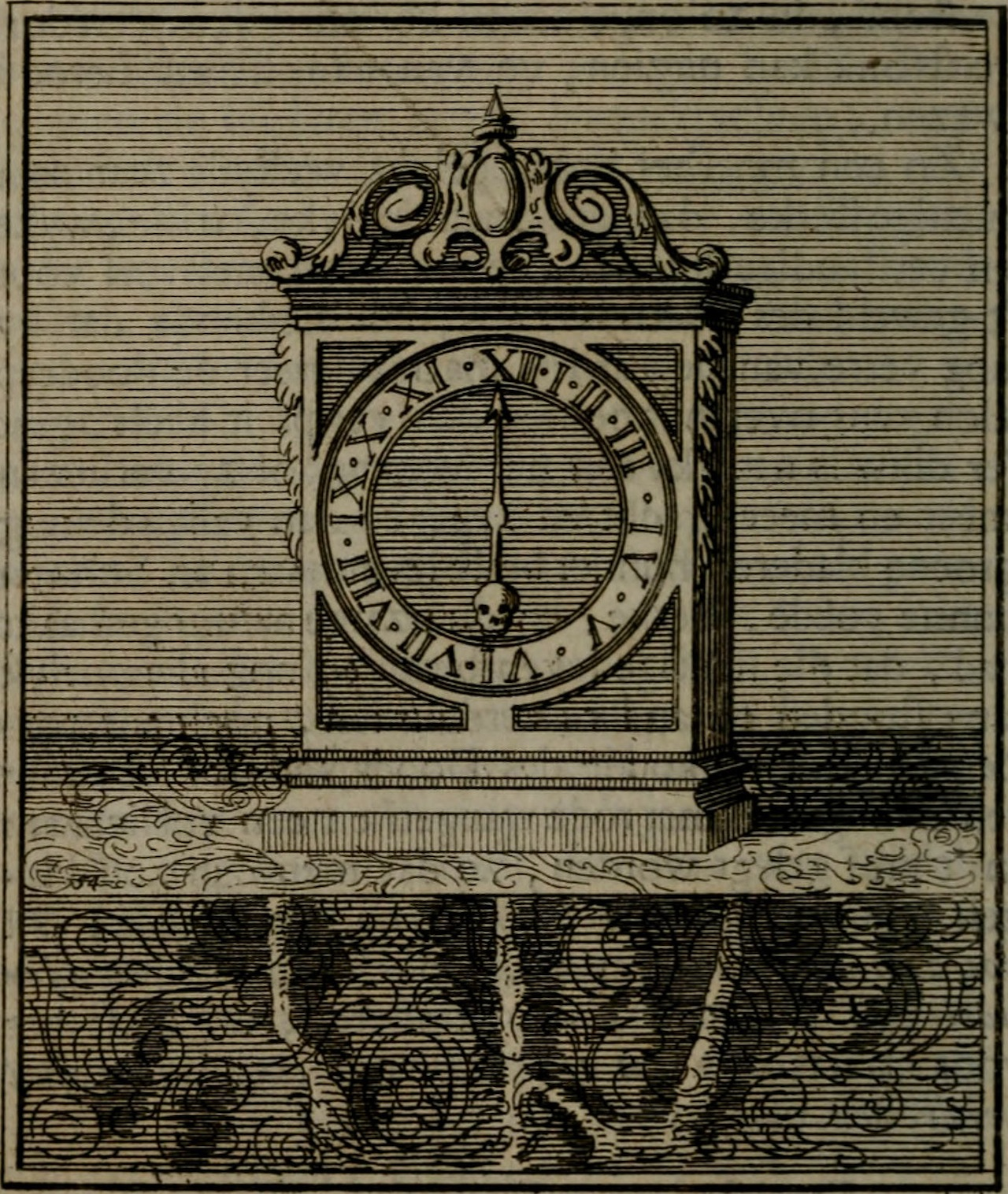 Illustration of a clock with a skull (1741) (via Internet Archive Book Images)
