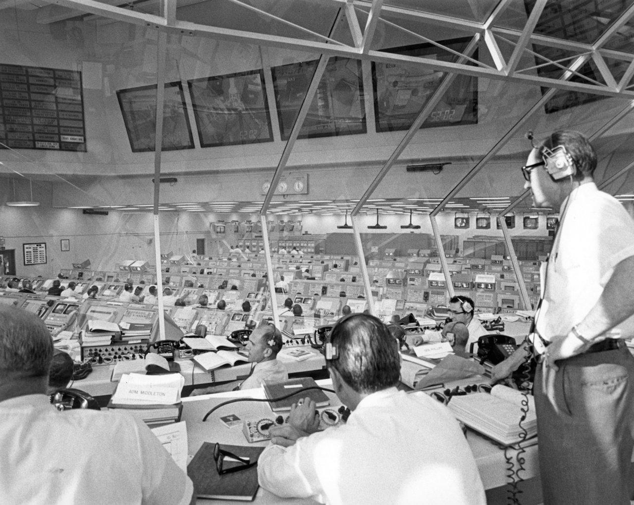 Apollo Director Phillips monitors Apollo 11 pre-launch activities at Mission Control (July 16, 1969) (via NASA)