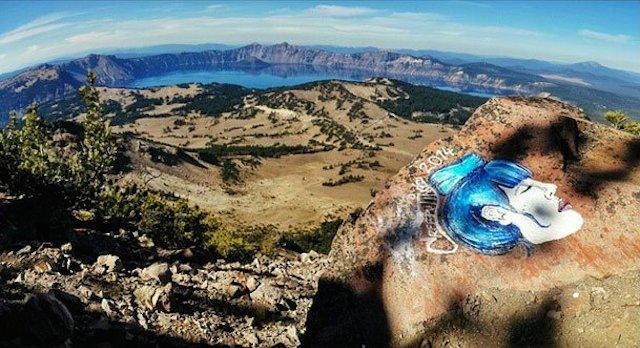 Vandalism by Casey Nocket at Crater Lake (photo via calipidder.com)