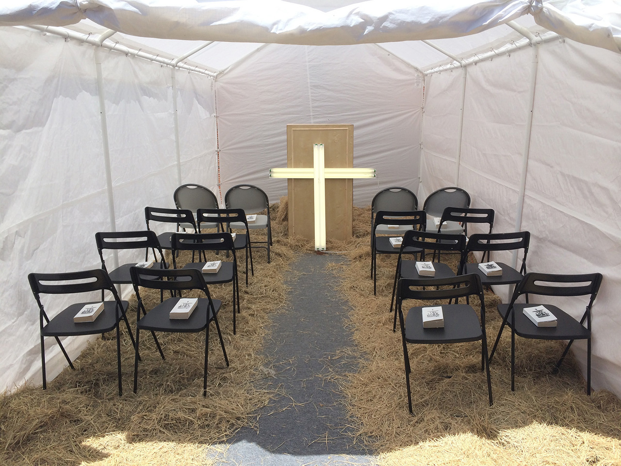 The revival tent at William Powhida and Jade Townsend's New New Berlin (all photos by the author for Hyperallergic)