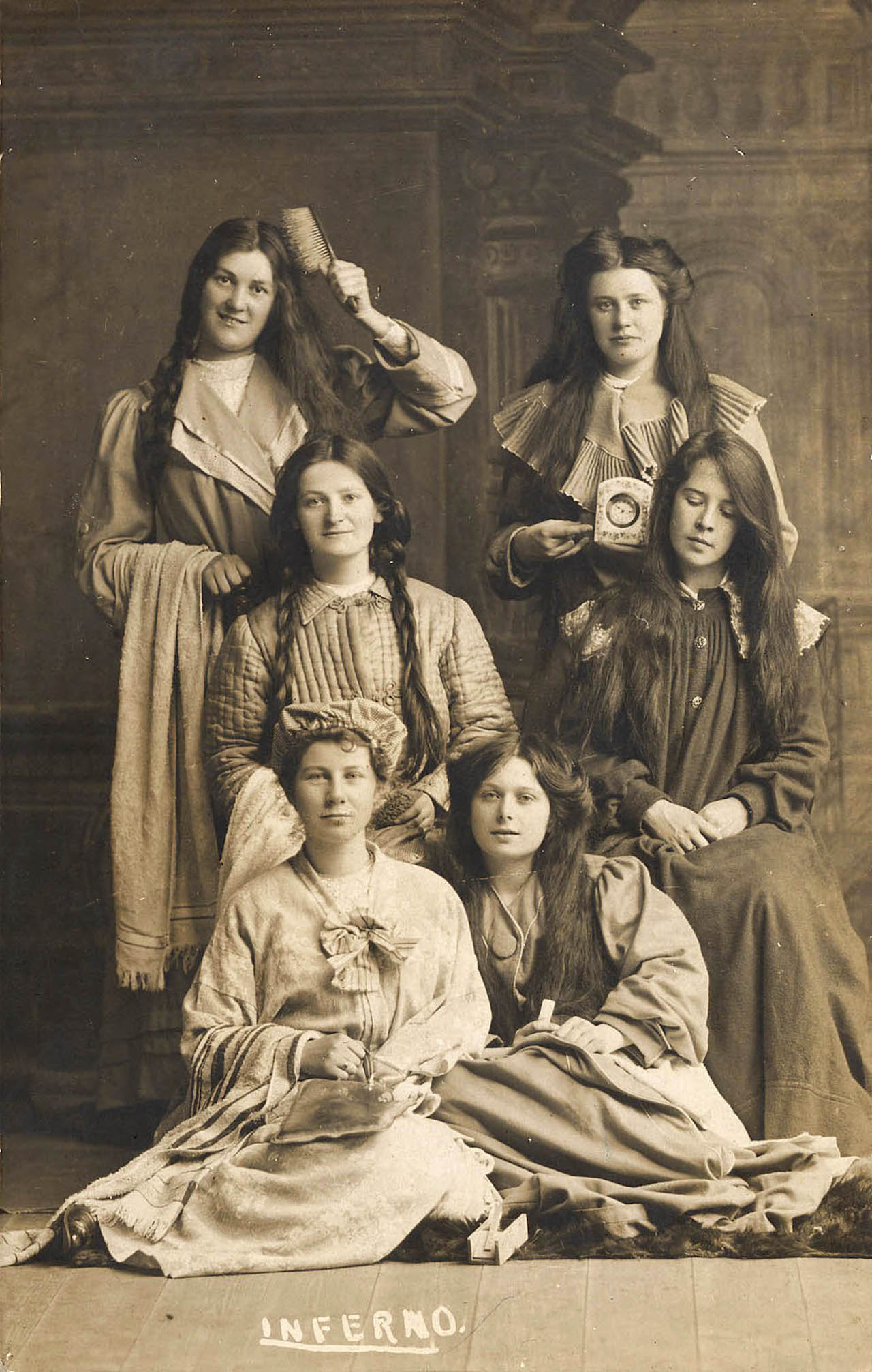 Portrait of ladies with a clock & hairbrush