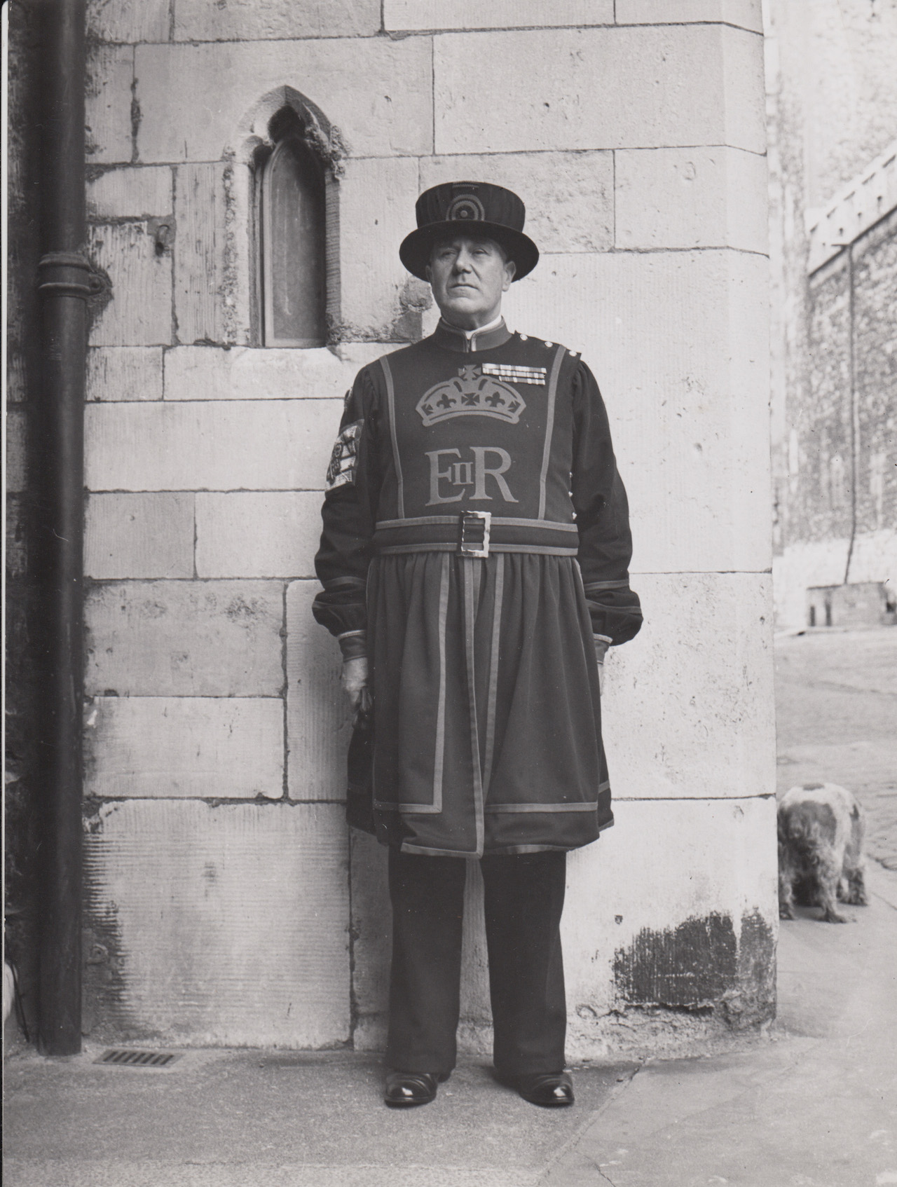 """Norman Rockwell, """"Reference photo for Tower of London Guard, Pan American- England"""" (1956)"""