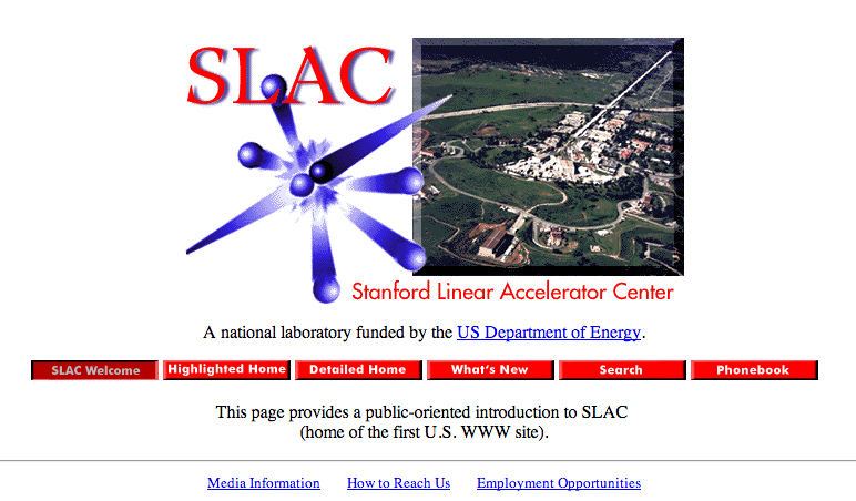 """The SLAC homepage in 1996, announcing itself as """"home of the first U.S. WWW site"""" (screenshot by the author for Hyperallergic)"""