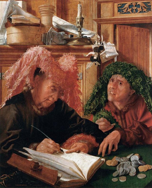 "Marinus van Reymerswaele, ""The Tax Collectors"" (1540s), oil on panel, 94 x 77 cm. Musée du Louvre, Paris. (Image via Web Gallery of Art)"