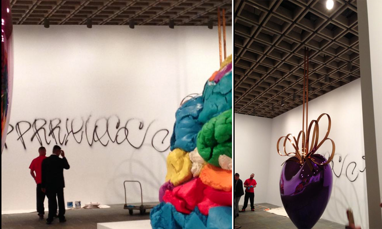 Photos of the vandalism provided to Hyperallergic by @davidjudegreen