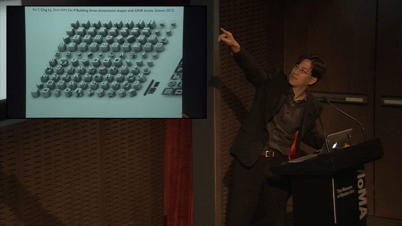 """William Shih at the Museum of Modern Art's panel on synthetic biology and design, """"Synthetic Aesthetics: New Frontiers in Contemporary Design,"""" convened by senior curator Paola Antonelli, October 28, 2014 (image courtesy the Museum of Modern Art)"""