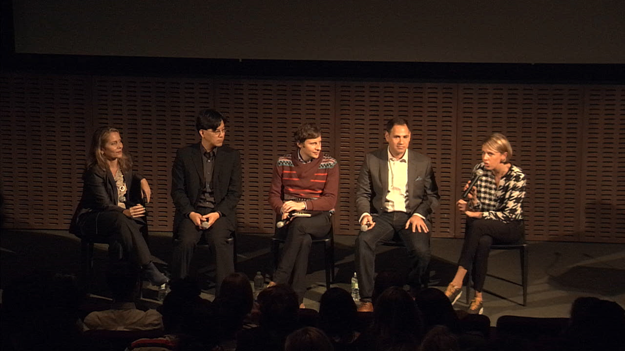 """Speakers at the Museum of Modern Art's panel on synthetic biology and design, """"Synthetic Aesthetics: New Frontiers in Contemporary Design,"""" convened by Senior Curator Paola Antonelli, October 28, 2014 (image courtesy the Museum of Modern Art)"""