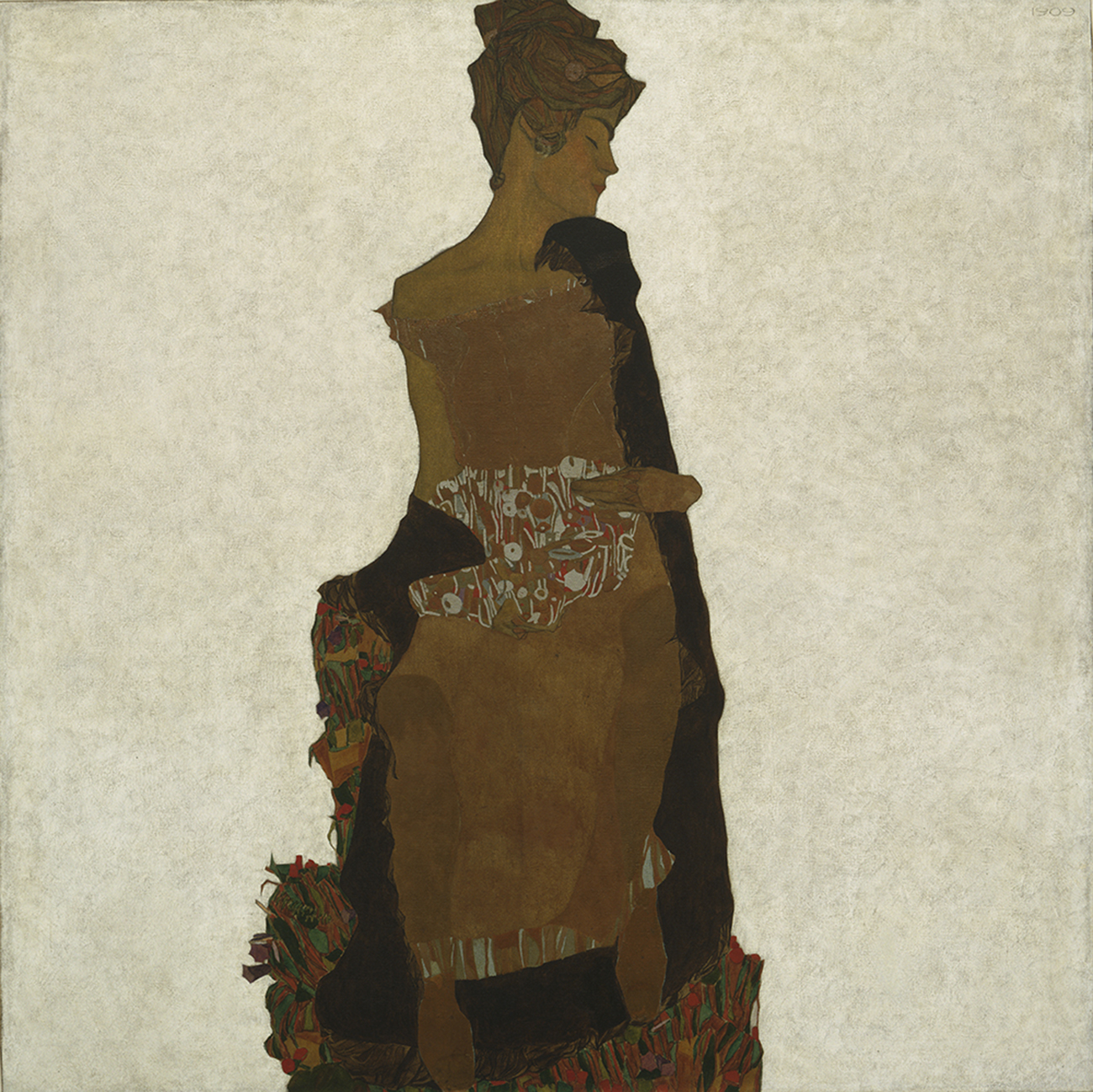 """Egon Schiele, """"Portrait of Gerti Schiele"""" (1909), oil, silver, gold-bronze paint, and pencil on canvas (collection of The Museum of Modern Art, New York. Purchase and partial gift of the Lauder family, 1982, and Private Collection Digital Image © The Museum of Modern Art/Licensed by SCALA / Art Resource, NY) (click to enlarge)"""