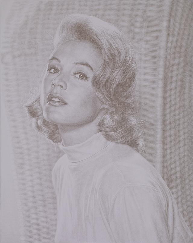 Obituary portrait: Sandra Dee, 2007, Silverpoint on paper, 58 x 46 cm