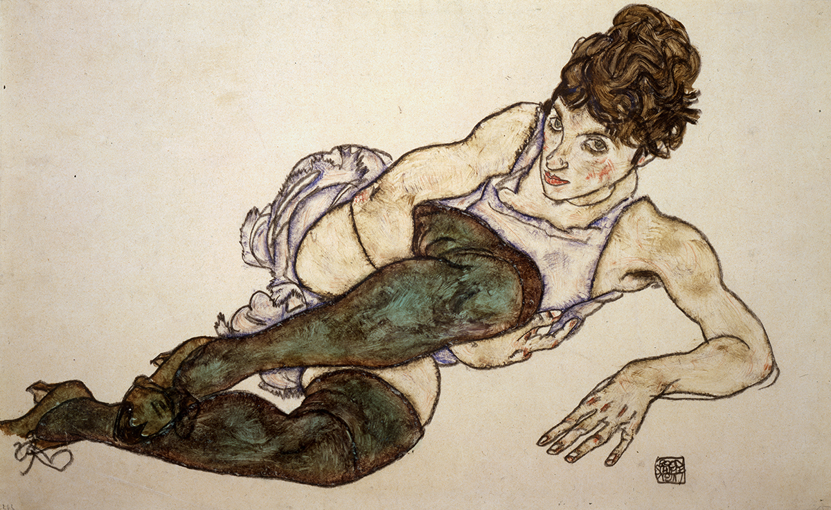 """Egon Schiele, """"Reclining Woman with Green Stockings"""" (1917), gouache and black crayon on paper (Private Collection, Courtesy Galerie St. Etienne, New York)"""