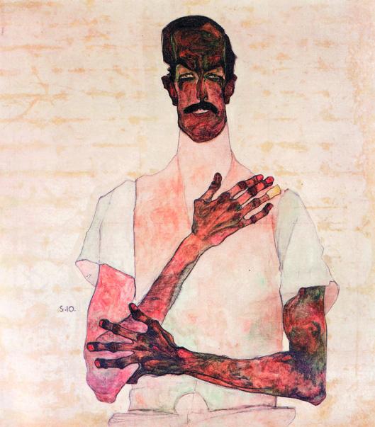 "Egon Schiele, ""Portrait of Dr. Erwin von Graff"" (1910) oil, gouache, and charcoal on canvas (Private Collection)"