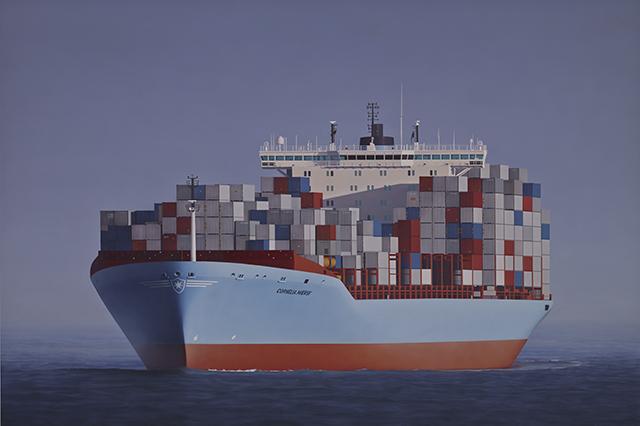 Obituary portrait: Arnold Maersk Mc-Kinney Moller, 2013, Oil and enamel on board, 100 x 150 cm