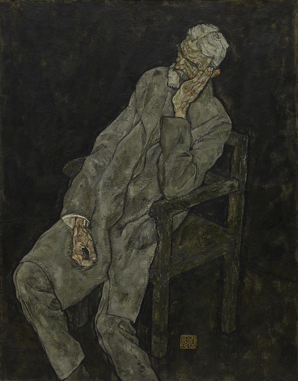 "Egon Schiele, ""Portrait of Johann Harms"" (1916), oil with wax on canvas (The Solomon R. Guggenheim Museum, New York, photo credit: The Solomon R. Guggenheim Foundation / Art Resource, NY)"