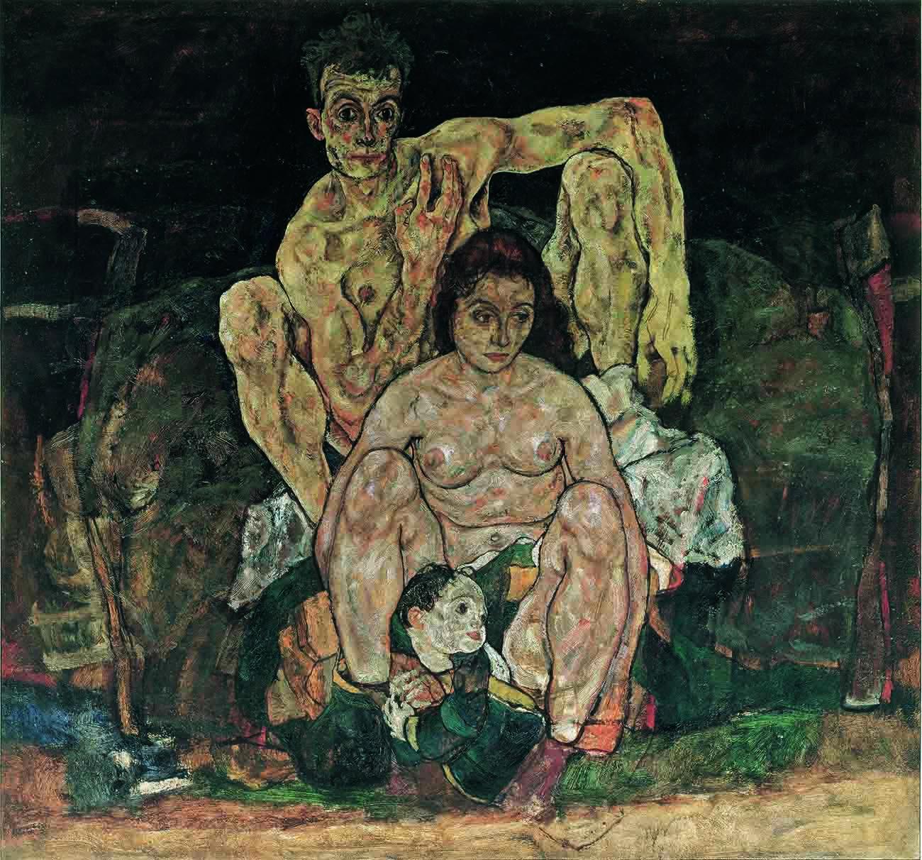 "Egon Schiele, ""The Family (Squatting Couple)"" (1918), oil on canvas (Belvedere, Vienna)"