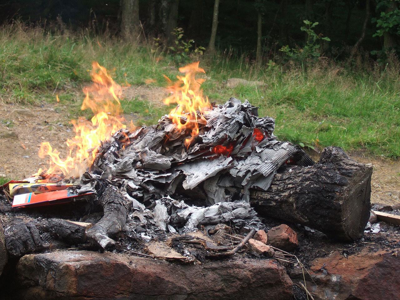 What cardboard looks like when it burns (photo via flickr.com/bensutherland)