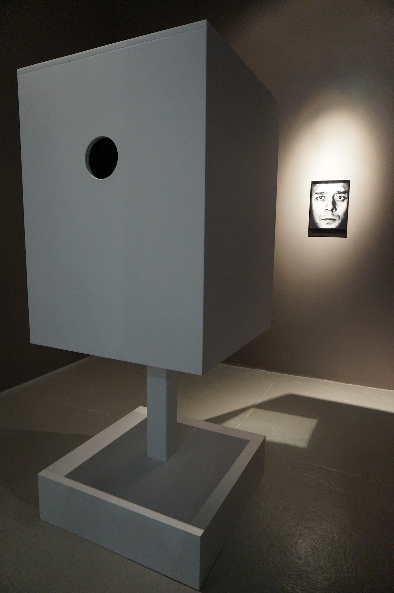 """Dominique Lévy has fabricated Yves Klein's """"Sculpture tactile,"""" which he conceived in 1957 with a prototype but never made. You're supposed to stick your arm in that hole."""