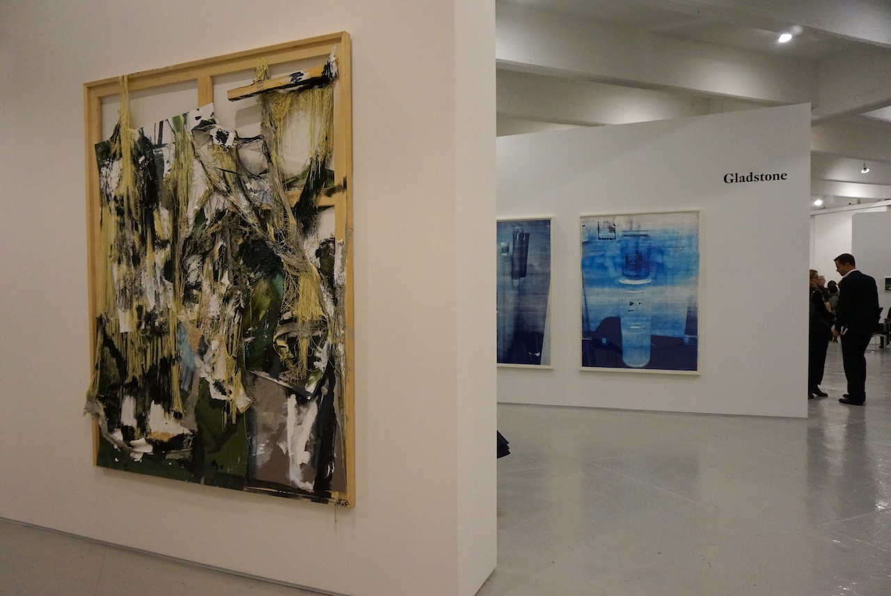 Work by Rosy Keyser, at Maccarone, on left in foreground, and by Allora and Calzadilla, at Gladstone Gallery, in back right
