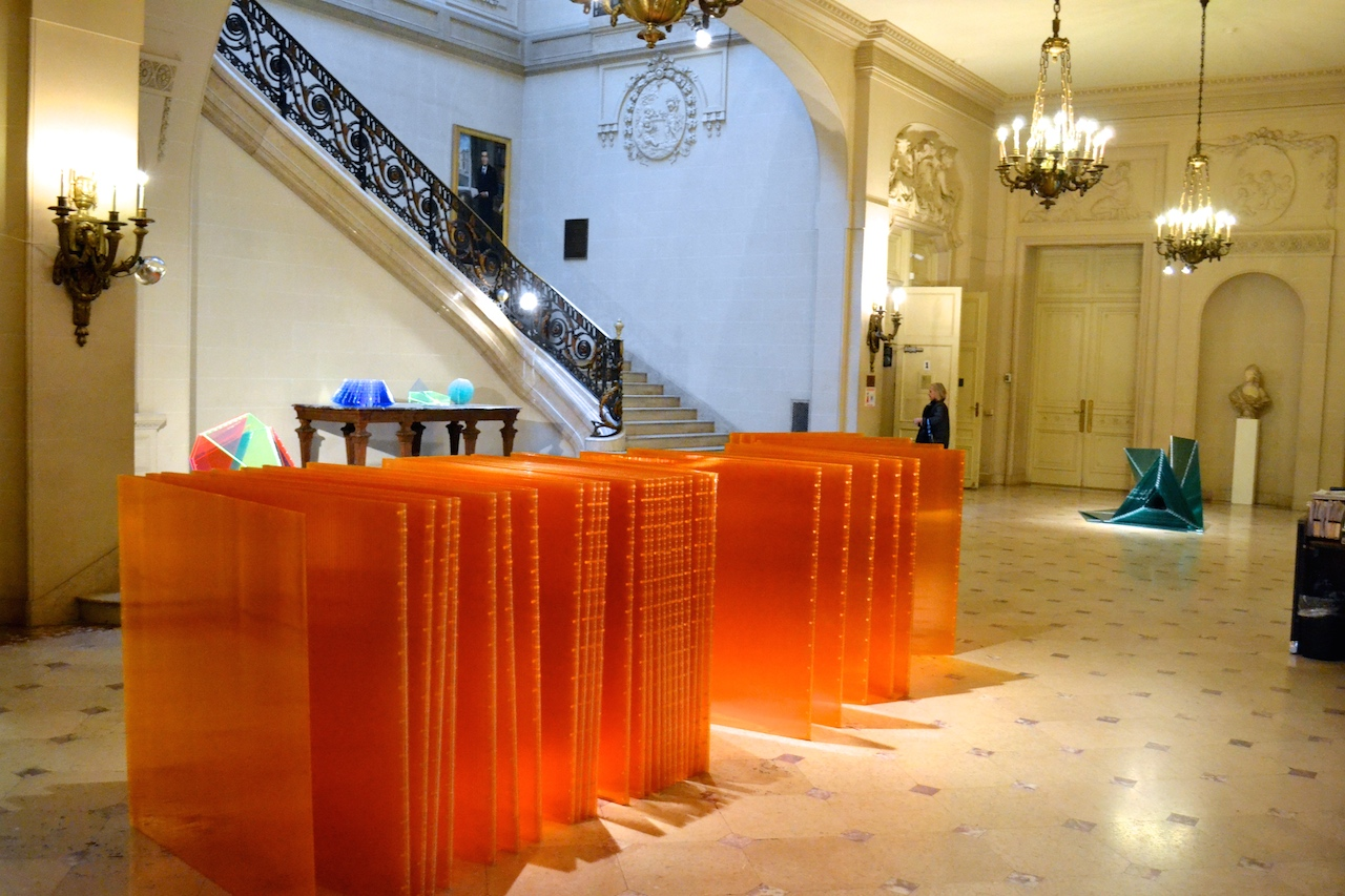 """Marta Chilindron """"Cube 48 Orange"""" (2014), twin wall polycarbonate, dimensions variable, closed: 48 x 48 x 48 in"""