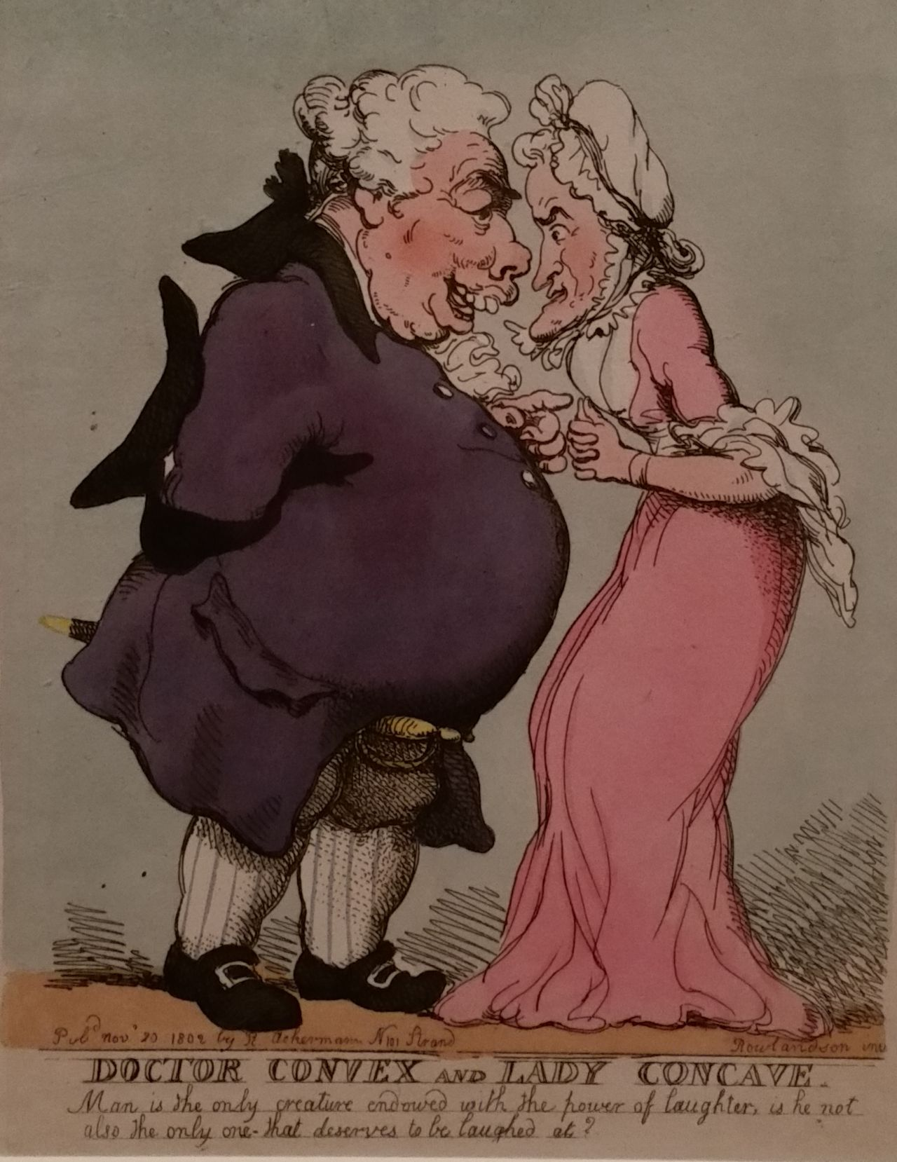 """Thomas Rowlandson, """"Doctor Convex and Lady Concave"""" (1802), hand colored etching"""