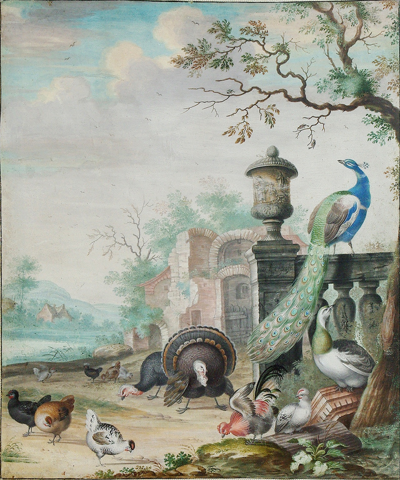 """""""A Peacock, a Parrot and other exotic birds in a park landscape,"""" (1694) by Herman Henstenburgh (Courtesy of Arader Galleries, Philadelphia, Pennsylvania)"""