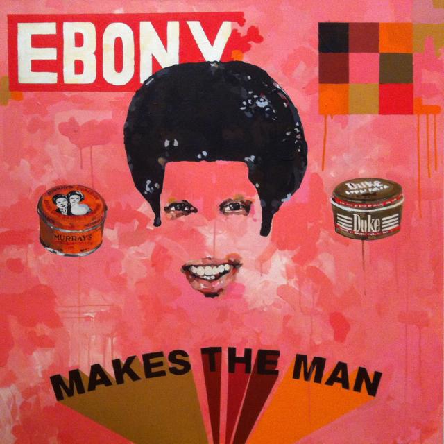 "Jeremy Okai Davis, ""Makes the Man"" (2012), acrylic on canvas, 40 × 40 in. (via studiomuseum.org)"