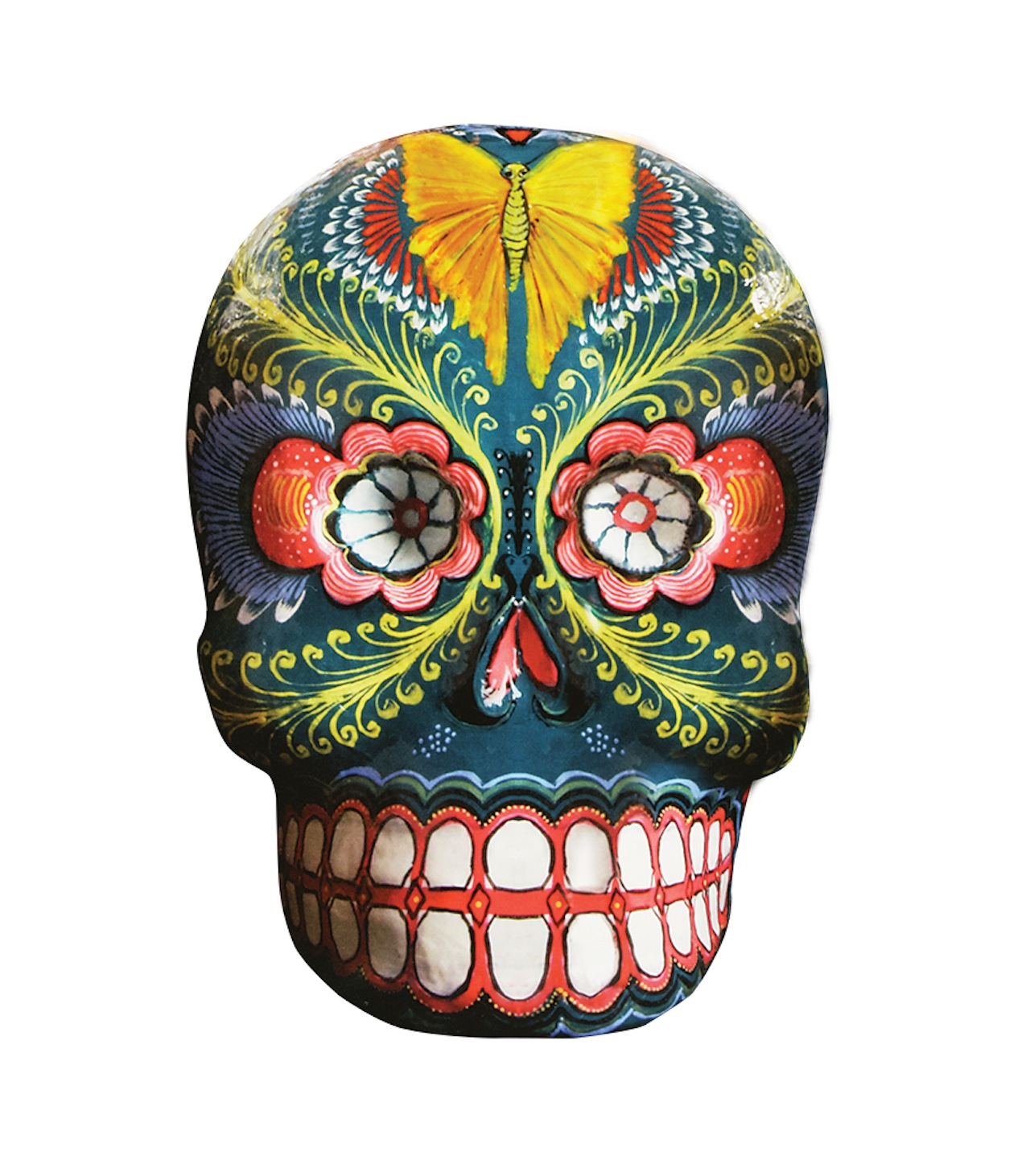 Leonardo Linares Vargas. Skull, 2001. Wire and papier-mâché, modeled and polychromed. Mexico City, Federal District, Mexico.  Image Courtesy of Fomento Cultural Banamex, A.C.
