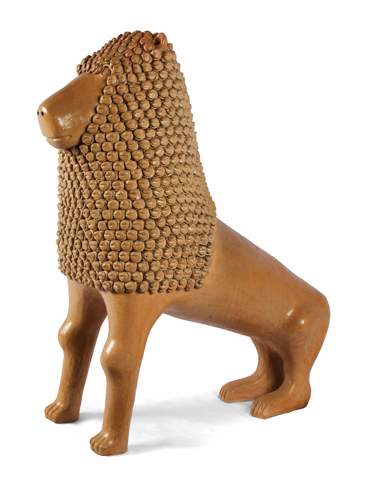 """. Manoel Gomes Da Silva """"Nuca."""" Lion, 2011. Modeled clay, smoothed, with appliqué and varnished. Tracunhaém, Pernambuco,  Brazil. Coll. Fomento Cultural Banamex, A.C. Image Courtesy of Fomento Cultural Banamex, A.C."""