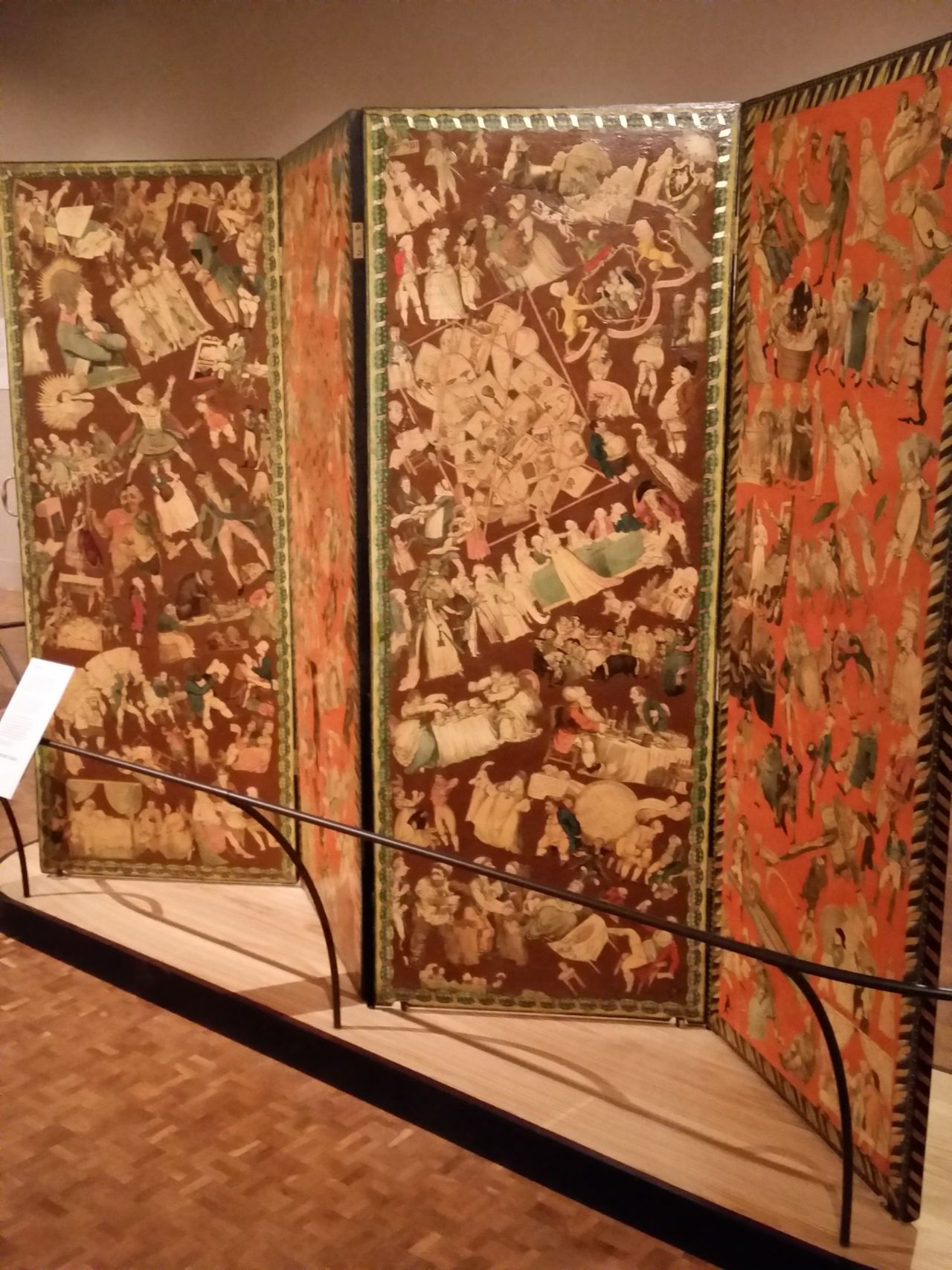 Thomas Rowlandson, Folding screen with pasted-on satirical prints, late 18th century