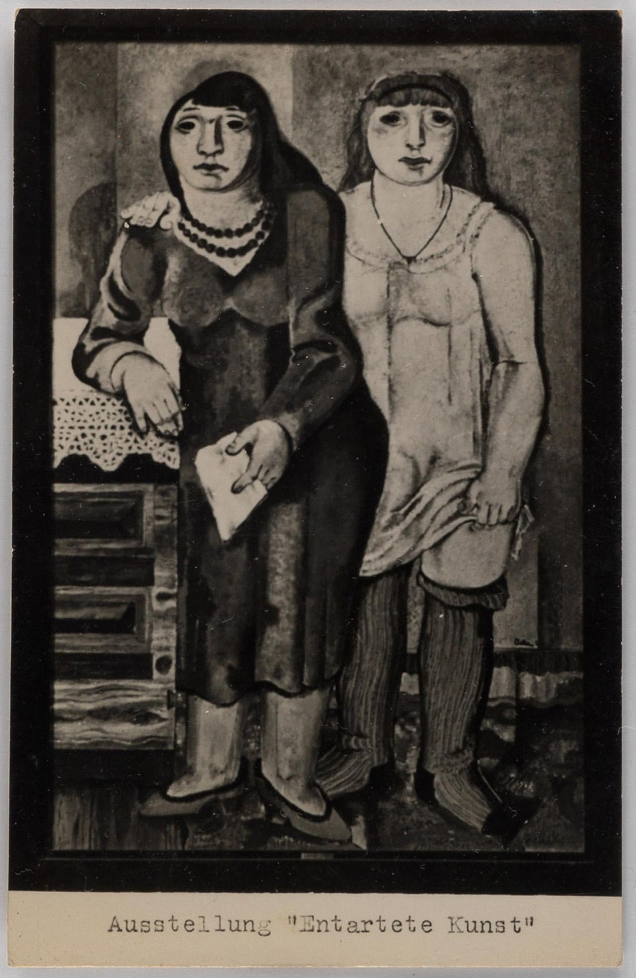 """'Entarte Kunst' Berlin exhibition postcard, showing Jankel Adler's painting """"Mother and Daughter"""""""