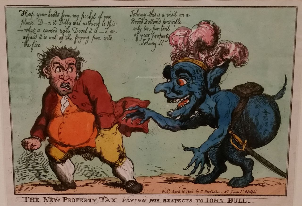 """Thomas Rowlandson, """"The New Property Tex paying his respects to John Bull"""" (1806), hand colored etching (all photos by the author for Hyperallergic)"""