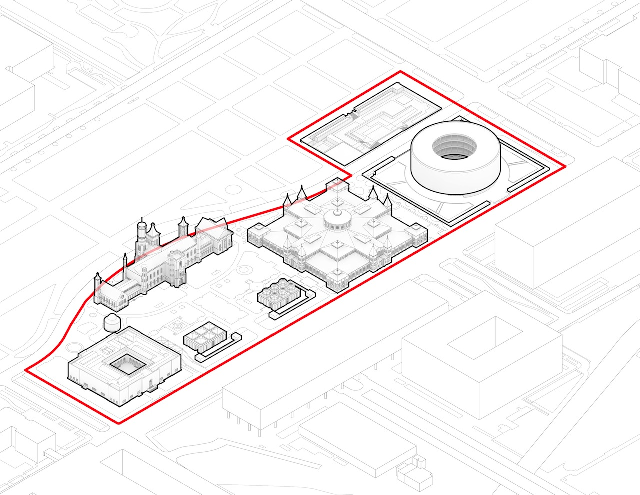 Diagram of the exisiting Smithsonian South Mall campus (Image courtesy of the Smithsonian)