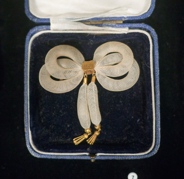 Cased white hair brooch (mid-19th-century), collection of Jennifer Berman