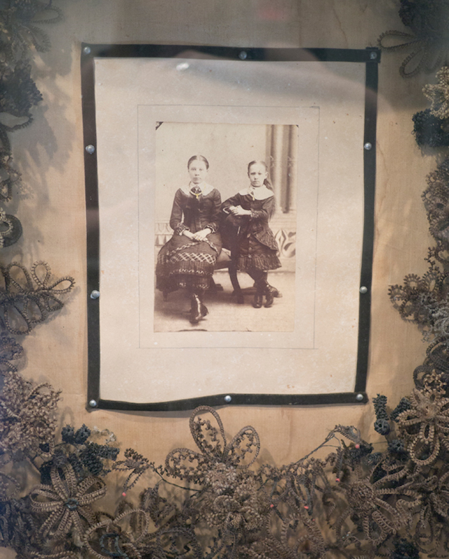 Large shadowbox with hair wreath and photo (mid-19th-century), collection of Evan Michelson