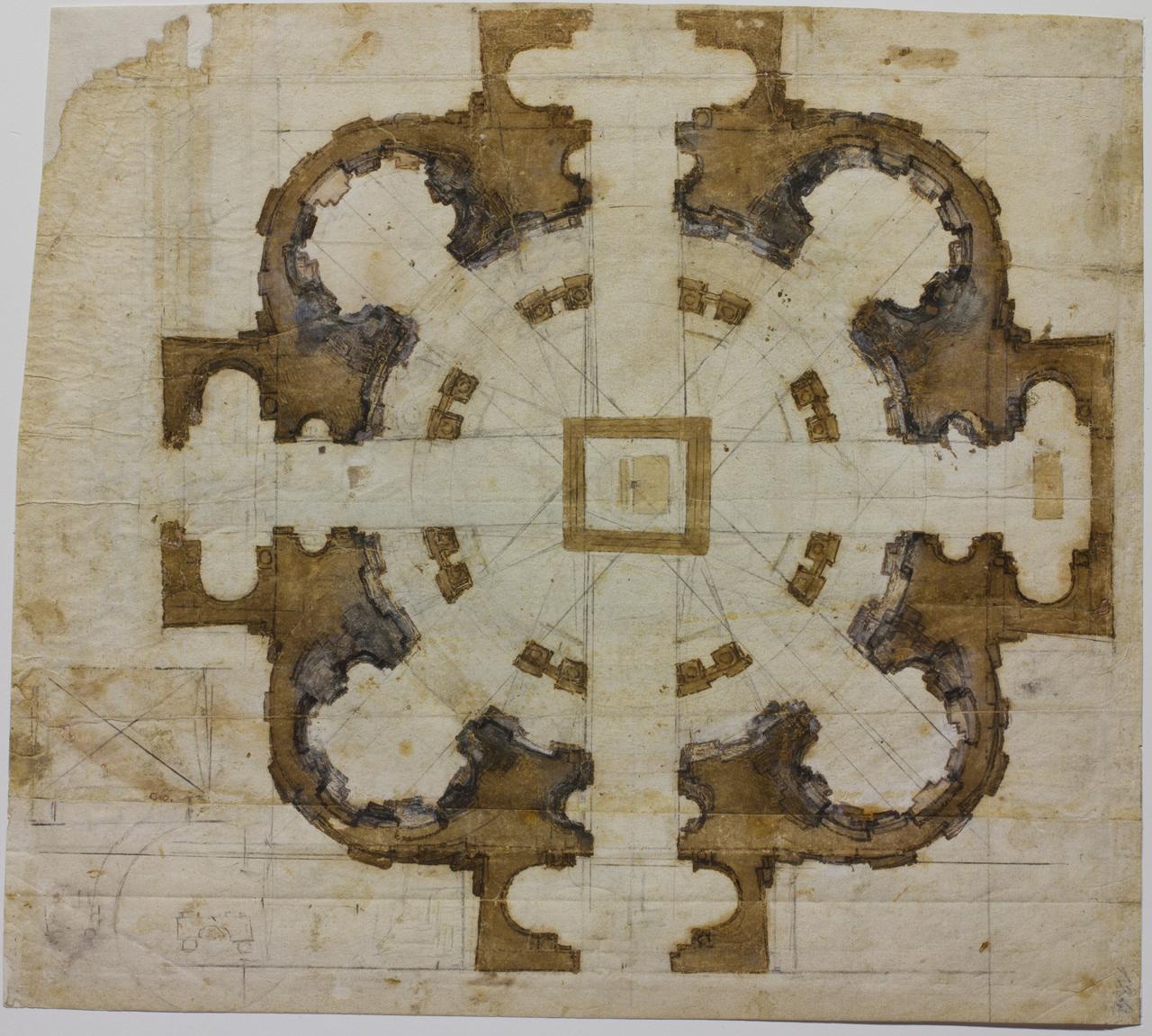 """Michelangelo, """"Plan for the church of San Giovanni dei Fiorentini in Rome"""" (1559–60)"""