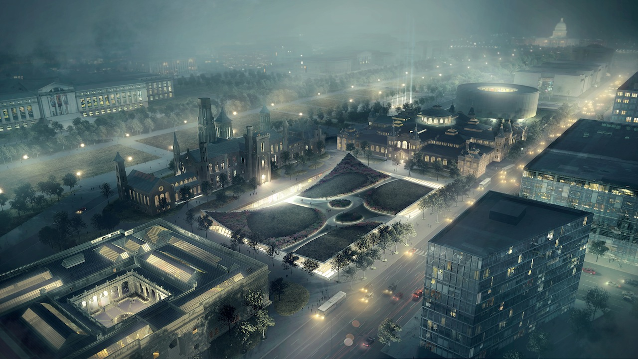 Artist's rendering of the SouthMall Campus at night (Image courtesy of the Smithsonian)