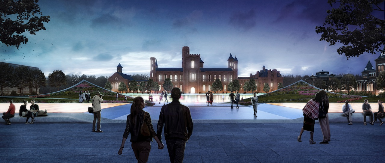 Artist's rendering of the Castle and the Haupt Garden as seen from Indpendence Avenue at dusk (Image courteys of the Smithsonian)