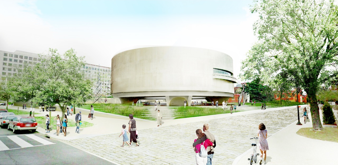Artist's rendering of the Hirshhorn Museum as seen from Seventh Street (Image courteys  of the Smithsonian)