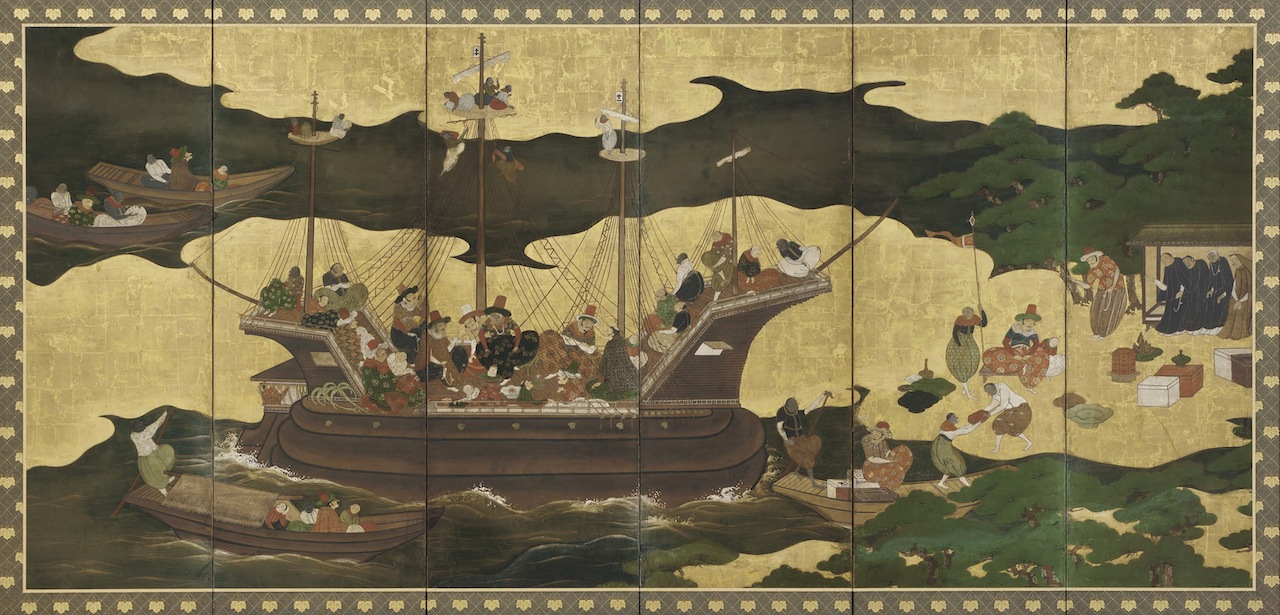Southern Barbarians in Japan  Japan, Edo period, 17th century  Ink, color, and gold on paper  H x W: 153 x 331 cm  Purchase, Freer Gallery of Art, F1965.22-23