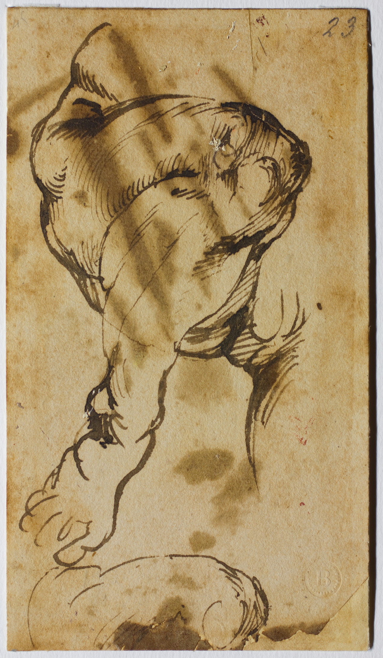 """Michelangelo, """"Study for the Leg of the Christ Child in the 'Doni Tondo'"""" (1506) (click to enlarge)"""