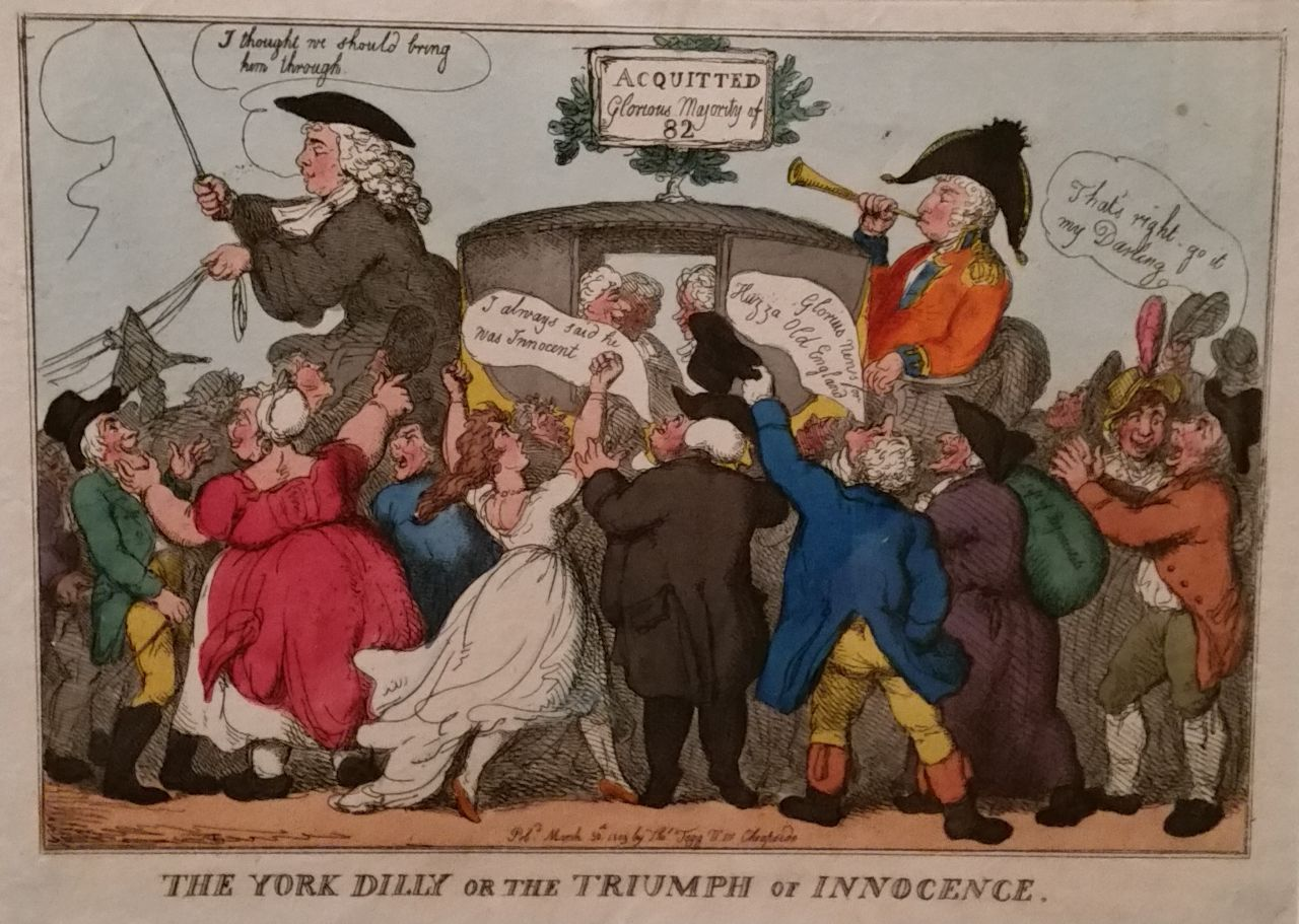 """Thomas Rowlandson, """"The York Dilly or the Triumph of Innocence"""" (1809), hand colored etching"""