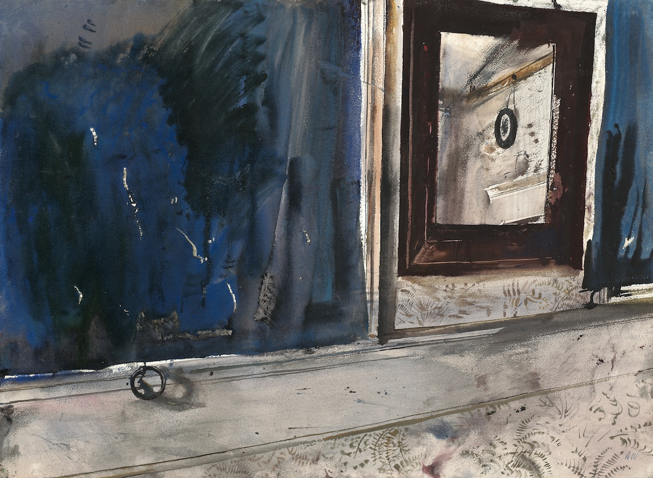 """""""Room in the Mirror Study,"""" 1948, watercolor on paper © Andrew Wyeth. Private Collection."""