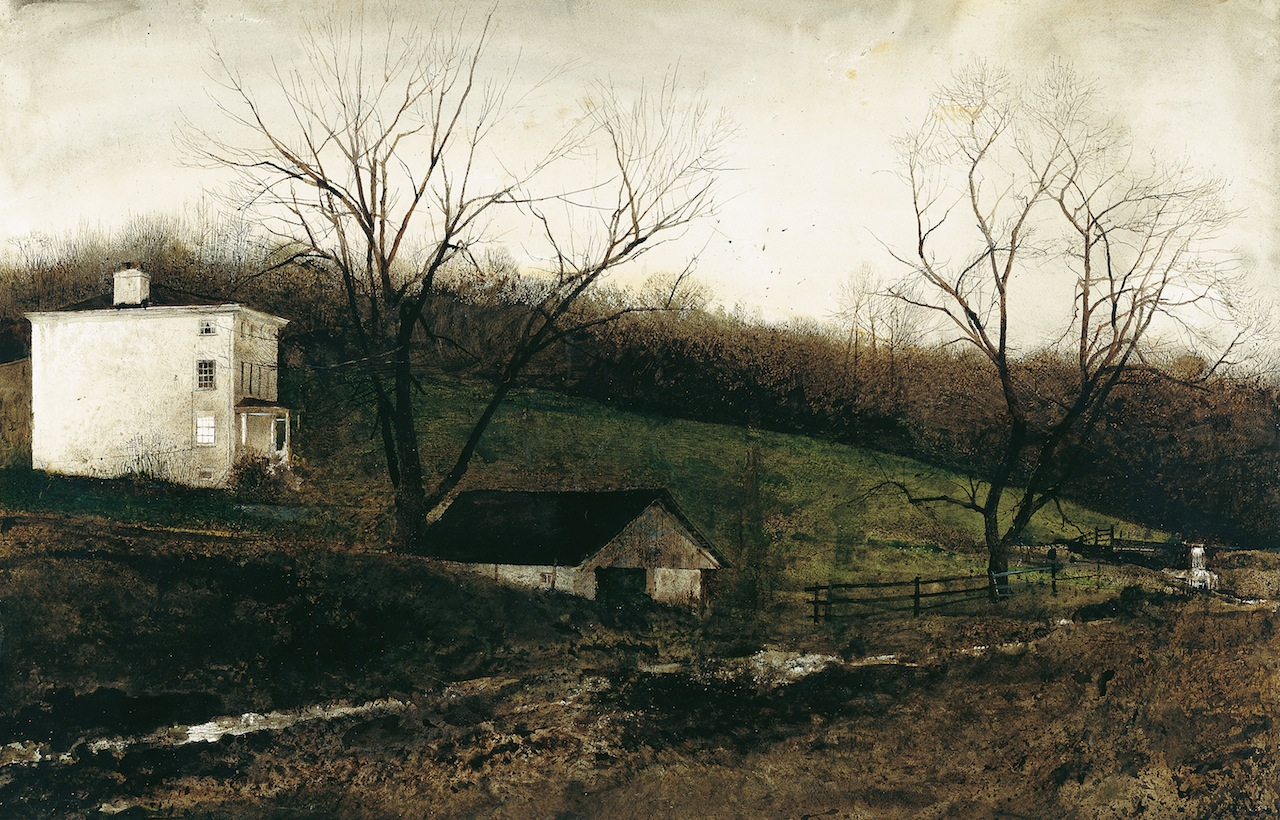 """""""Evening at Kuerners,"""" 1970, drybrush watercolor on paper © Andrew Wyeth. Private CollectionFrostbitten, 1962, watercolor on paper © Andrew Wyeth. Private Collection"""