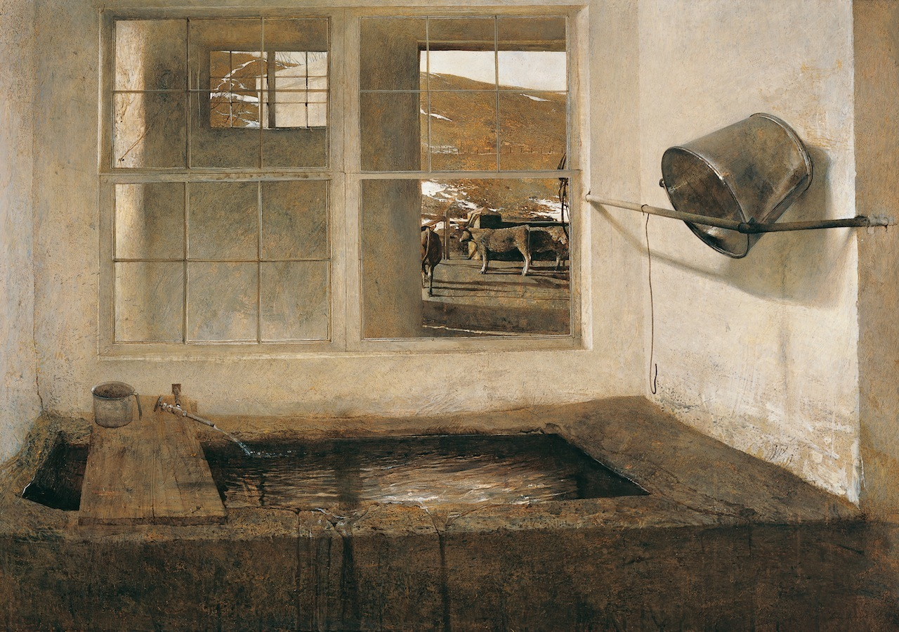 """""""Spring Fed,"""" 1967, tempera on masonite © Andrew Wyeth. Collection of Bill and Robin Weiss"""