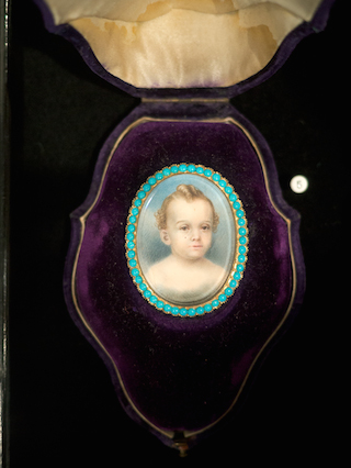 Cased brooch with painted child's portrait, probably postmortem, with turquoise surround, collection of Jennifer Berman