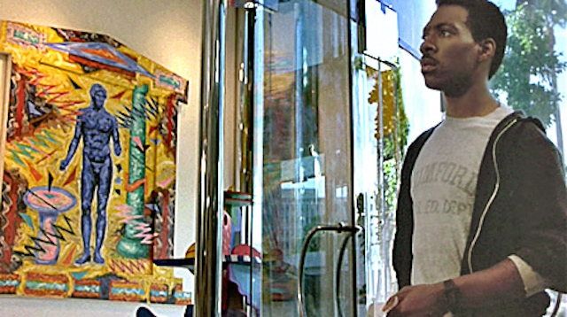 Axel Foley (Eddie Murphy) visits an art gallery in 'Beverly Hills Cop' (all images via ArtInFilm.org)