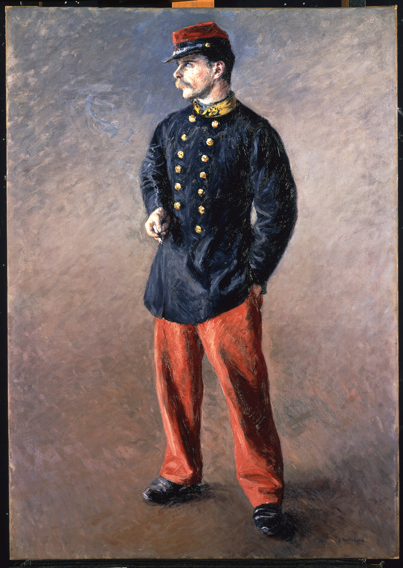 """Gustave Caillebotte, """"Un Soldat"""" (1881), oil on canvas, 42 x 29 1/2 in. (106.7 x 74.9 cm)"""