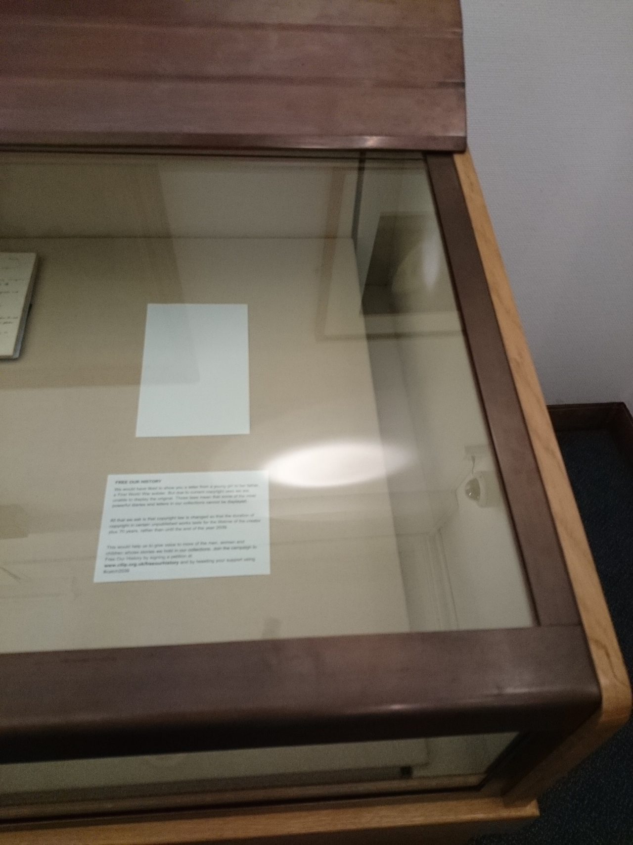 An empty display case at the Leeds University Library Reading Room (image courtesy Leeds University, via Flickr)